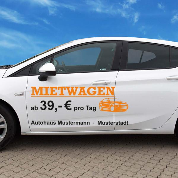 """Autobeschriftung """"Mietwagen"""", Design 1"""