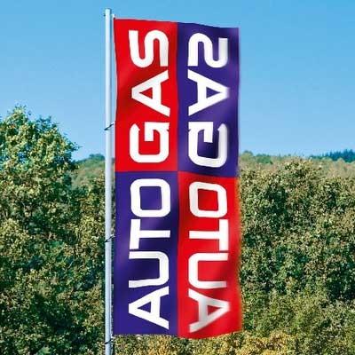 """Fahne """"Autogas"""", Hochformat, 120 x 300 cm"""