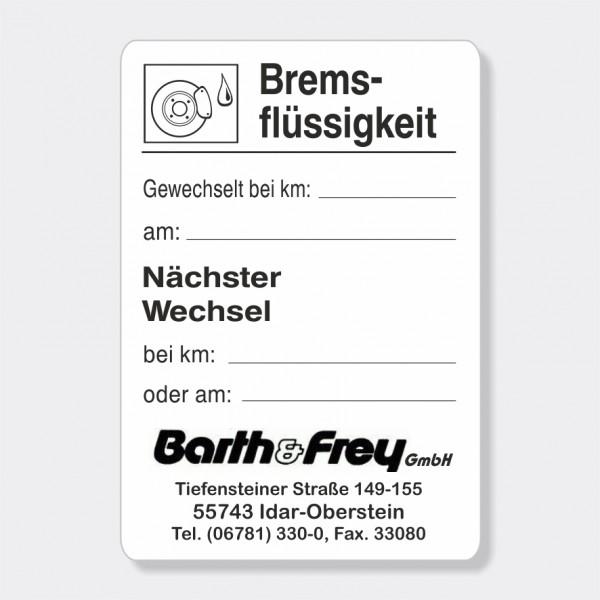 """Service-Aufkleber aus PVC-Folie, Größe: 45 x 65 mm, Motiv """"Bremsflüssigkeit"""""""