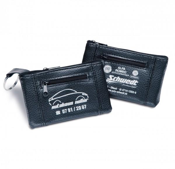 Schlüsseltasche aus Kunstleder, mit 2 Reißverschlussfächern