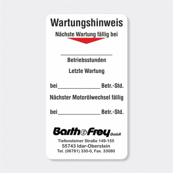 """Service-Aufkleber aus PVC-Folie, Größe: 45 x 80 mm, Motiv """"Wartungshinweis"""""""