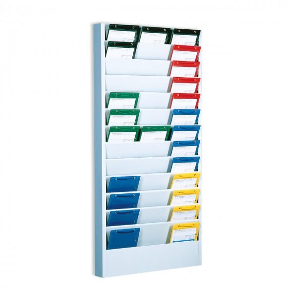 Plantafel aus Stahlblech für DIN A5 Auftragstaschen und Formulare, mit 13 Fächern für 39 x DIN A5