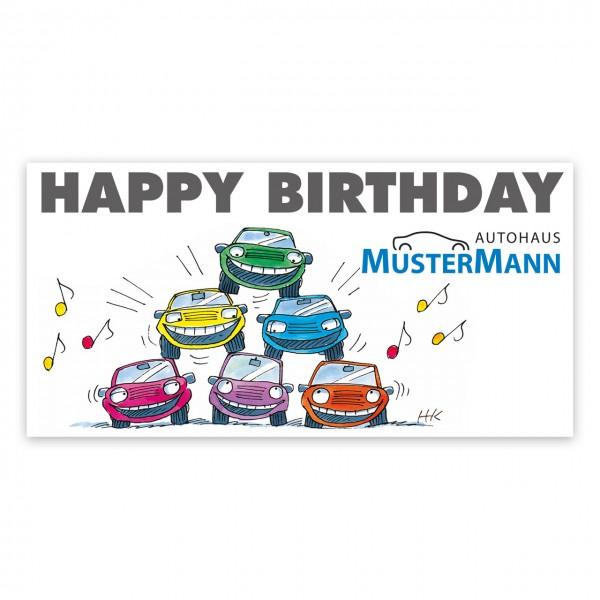 Geburtstags-Maxi-Postkarte, Motiv: Autopyramide