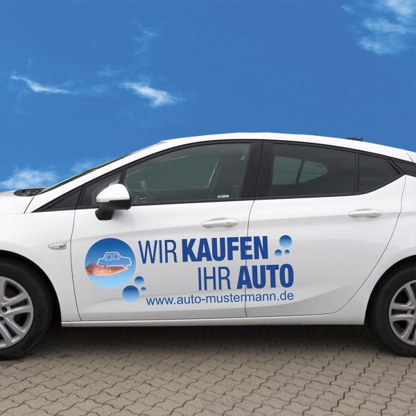 """Autobeschriftung """"Wir kaufen Ihr Auto"""", Design blau"""