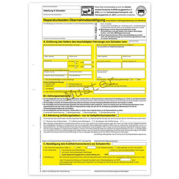 Reparaturkosten-Übernahmebestätigung einschließlich Abtretungserklärung KFZ und Zahlungsanweisung