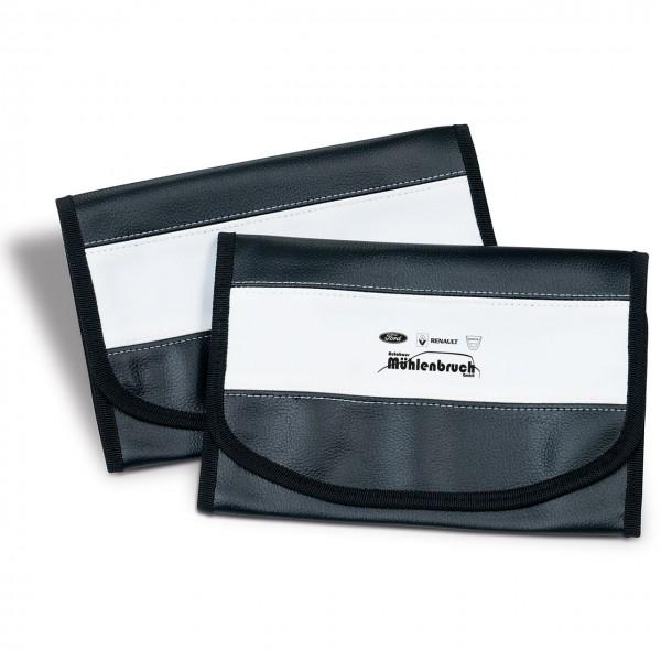 Wagenpapiertasche aus Kunstleder, mit weißem Designstreifen