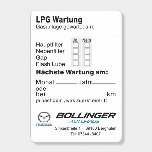 """Service-Aufkleber aus PVC-Folie, Größe: 45 x 65 mm, Motiv """"LPG Wartung"""""""