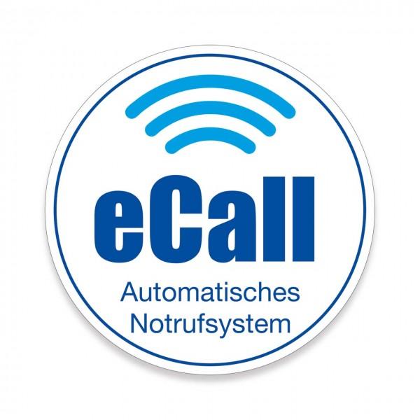 """Scheibenaufkleber """"eCall"""", 300 mm Ø"""