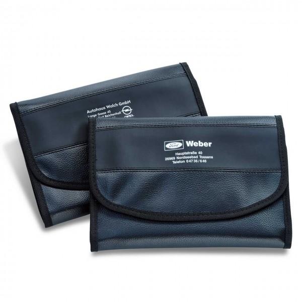 Wagenpapiertasche aus Kunstleder, mit matt-schwarzem Designstreifen