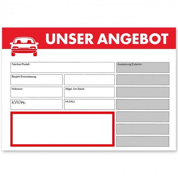 """Verkaufsschild DIN A4 """"UNSER ANGEBOT"""", mit Universal-Preisfeld"""