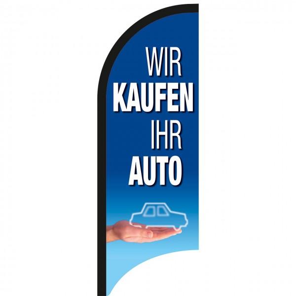 """Beachflagge """"Wir kaufen Ihr Auto"""", 70 x 205 cm, Design blau"""