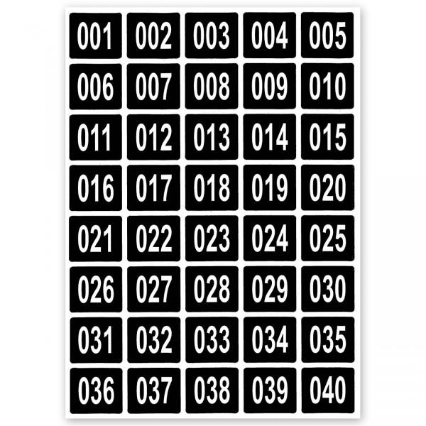 Numerische Aufkleber, 3-stellig, Format 35 x 30 mm