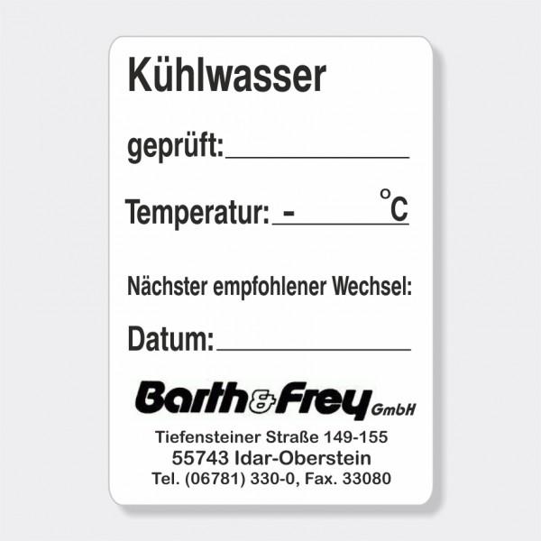 "Service-Aufkleber aus PVC-Folie, Größe: 45 x 65 mm, Motiv ""Kühlwasser"""