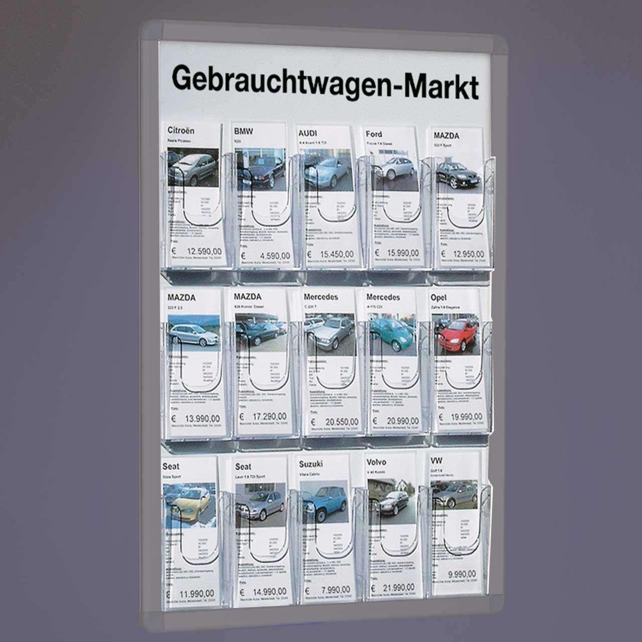 Plakatrahmen-Einsatz mit 15 Fächern für DIN lang Infoblätter für ...