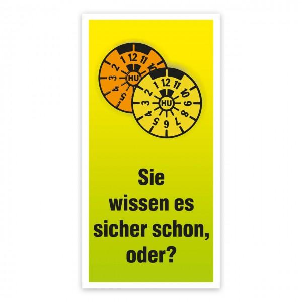 """Maxi-Postkarte """"HU/AU-Erinnerung"""", Textmotiv gelb/grün"""