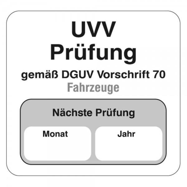 UVV Aufkleber aus PVC, ohne Firmeneindruck, Größe 38 x 40 mm