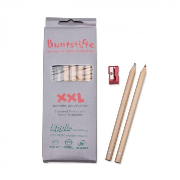 """Buntstifte Set """"XXL"""", Ø 1,0,cm, lang, mit 6 Buntstiften und Spitzer"""