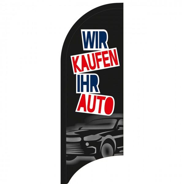 """Beachflagge """"Wir kaufen Ihr Auto"""", 70 x 205 cm, Design schwarz"""