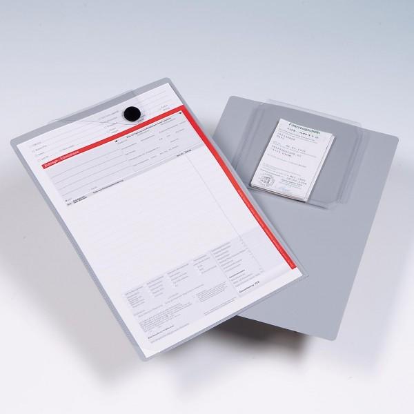 Auftragsschutzhülle A4: Auftragsmappe mit Unterlagen-Fach, leichte Ausführung, PVC, Rückseite grau
