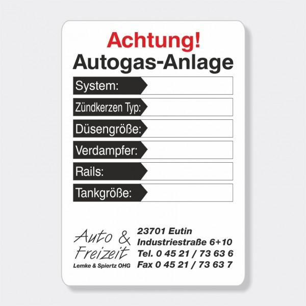 """Service-Aufkleber aus PVC-Folie, Größe: 45 x 65 mm, Motiv """"Achtung Autogas-Anlage"""""""