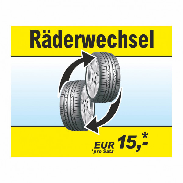 """Werbebanner """"Räderwechsel"""", 274 x 174 cm"""