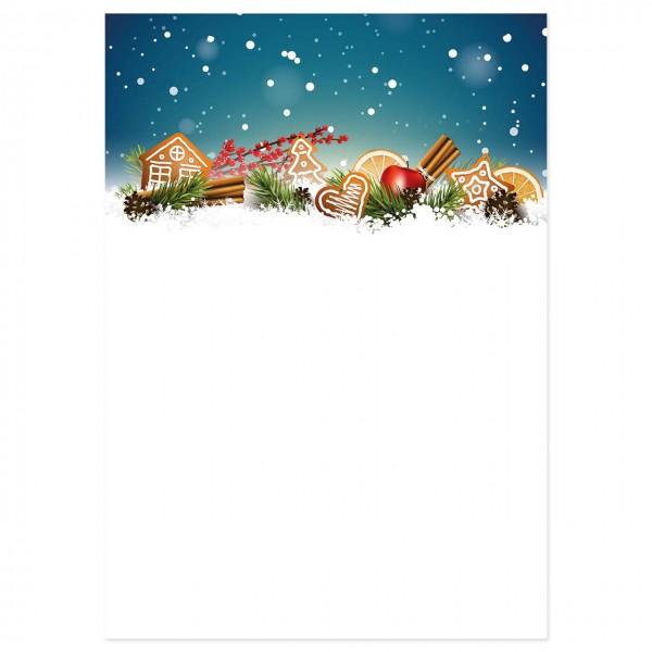 """Weihnachts-Briefpapier, Motiv """"Lebkuchen"""""""
