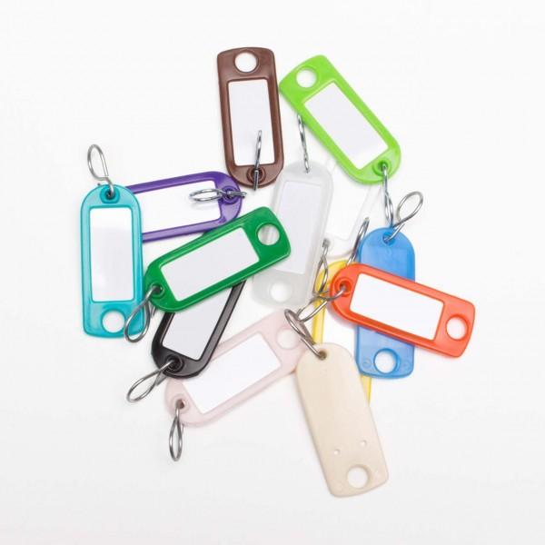 Schlüsselanhänger mit auswechselbarem Etikett und Chromhaken