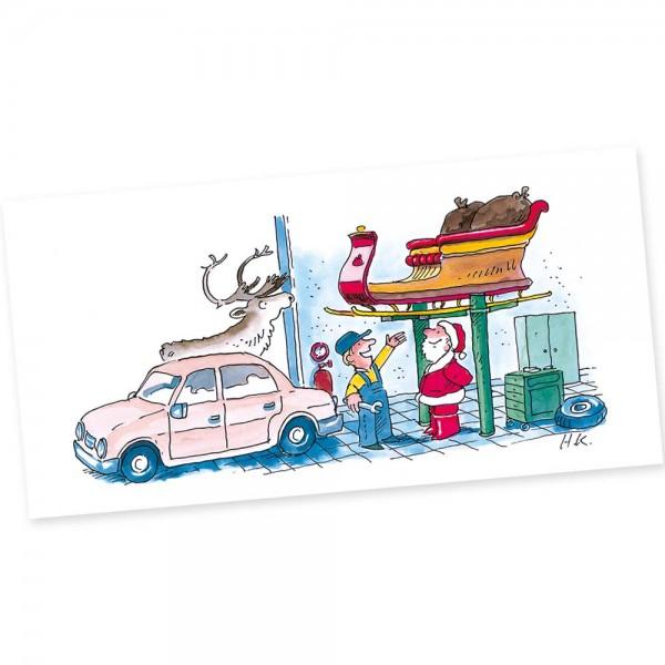 "Weihnachts-Postkarte, Motiv ""Werkstatt"""