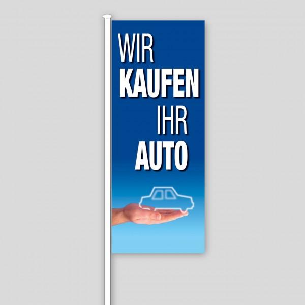 """Fahne """"Wir kaufen Ihr Auto"""", Design blau"""