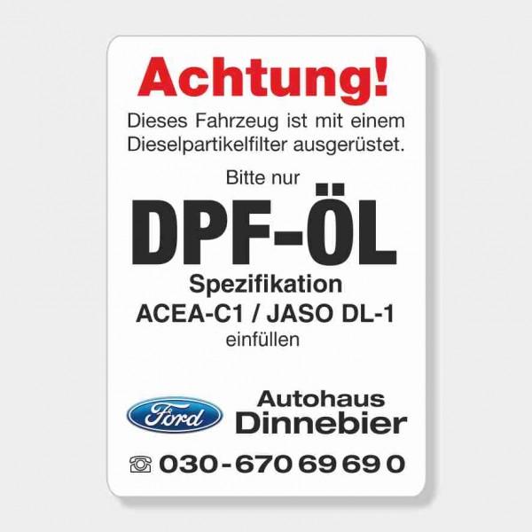 """Service-Aufkleber aus PVC-Folie, Größe: 45 x 65 mm, Motiv """"DPF-Öl Spezifikation"""""""