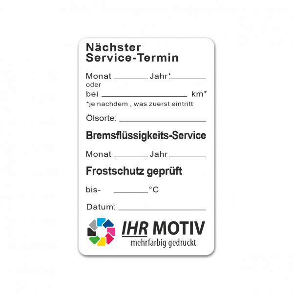 """Service-Aufkleber aus PVC-Folie, Größe: 50 x 80 mm, Motiv """"Service / Bremsflüssigkeit / Frostschutz"""""""