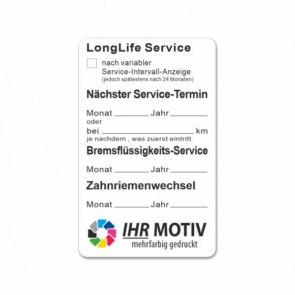 "Service-Aufkleber aus PVC-Folie, Größe: 50 x 80 mm, Motiv ""Longlife-Service / Bremsfl. / Zahnriemen"