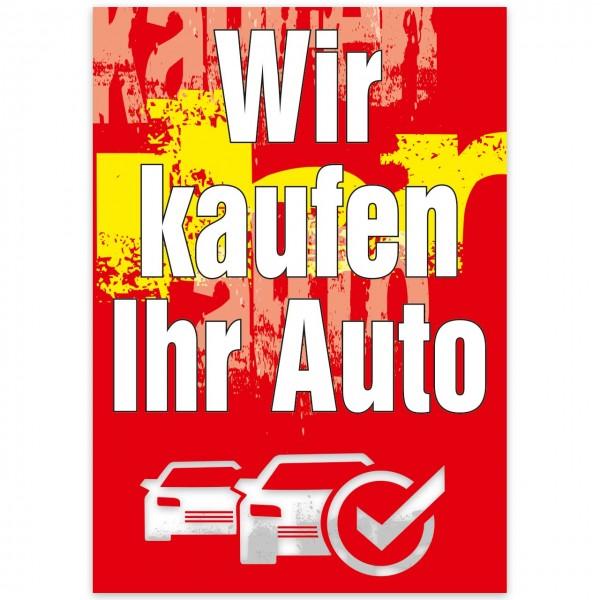 """Plakat DIN A1, """"Wir kaufen Ihr Auto"""", Design rot"""