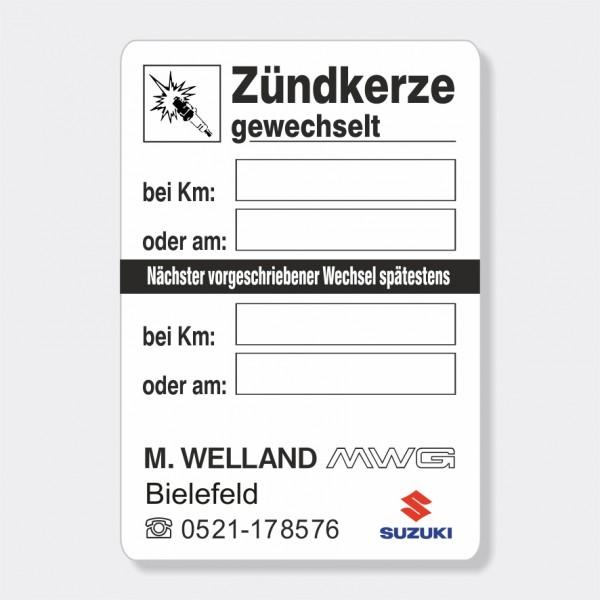 """Service-Aufkleber aus PVC-Folie, Größe: 45 x 65 mm, Motiv """"Zündkerze"""""""