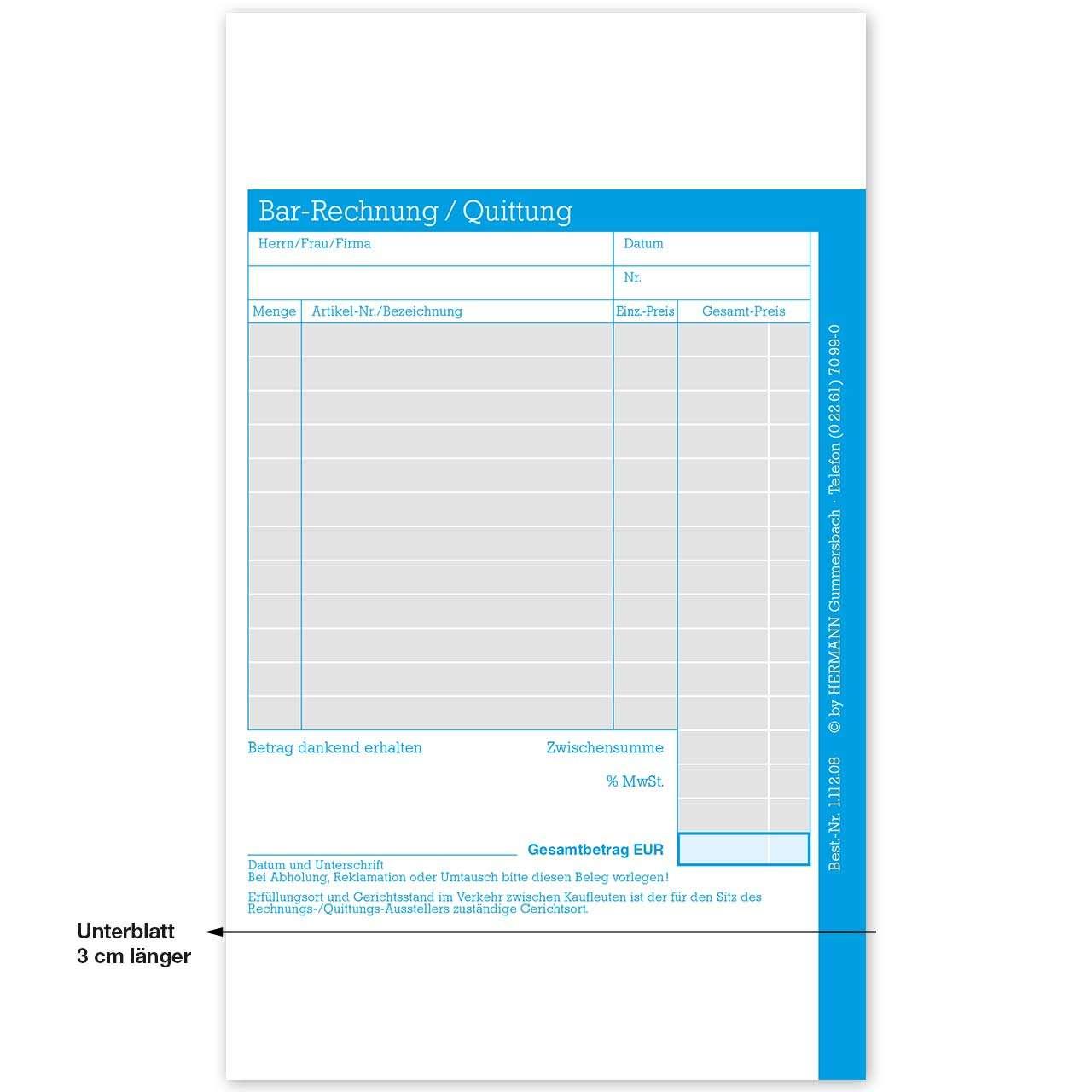Bar-Rechnung / Quittung, ohne Firmeneindruck | Rechnungen und ...