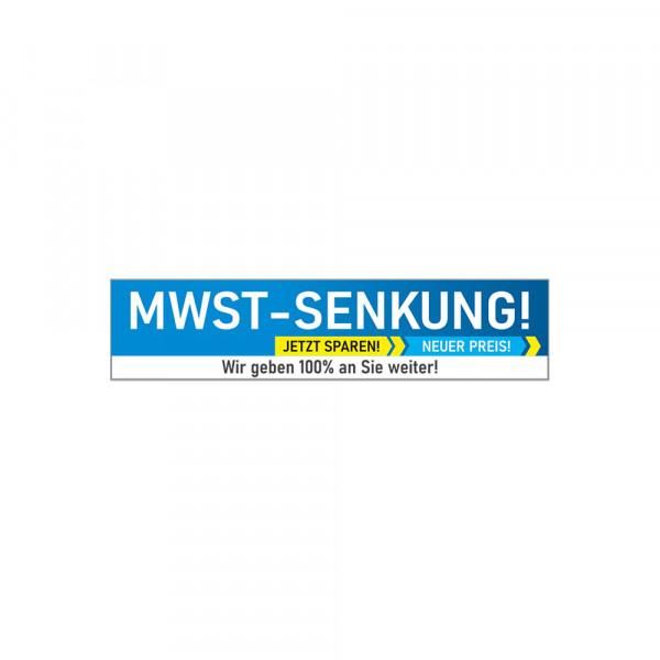"""Scheibenaufkleber """"MwSt-Senkung"""" 48,5 x 10,9 cm statisch haftend"""