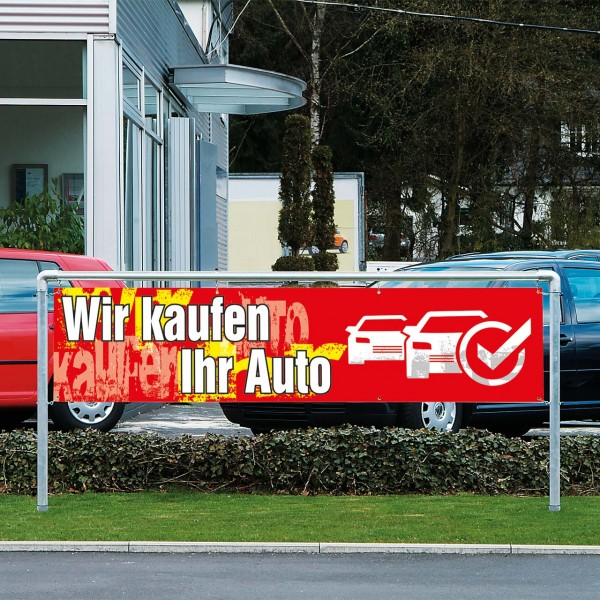 """Werbebanner """"Wir kaufen Ihr Auto"""", 300 x 70 cm, Design rot"""