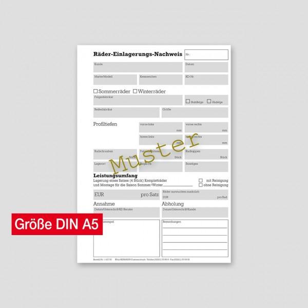 Räder-Einlagerungsformulare DIN A5, ohne RDKS-Tabelle
