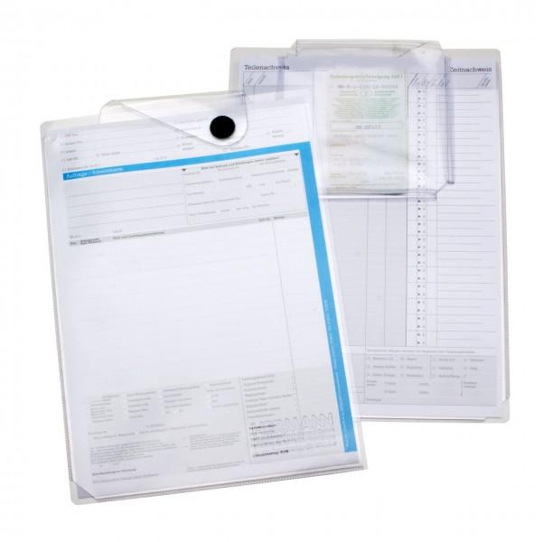 Auftrags-Schutzhüllen DIN A4, mit Unterlagen-Fach, leichte Ausführung, PVC transparent