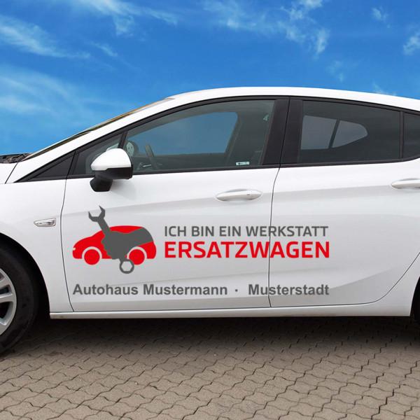 """Autobeschriftung """"Ersatzwagen"""", Design 3"""