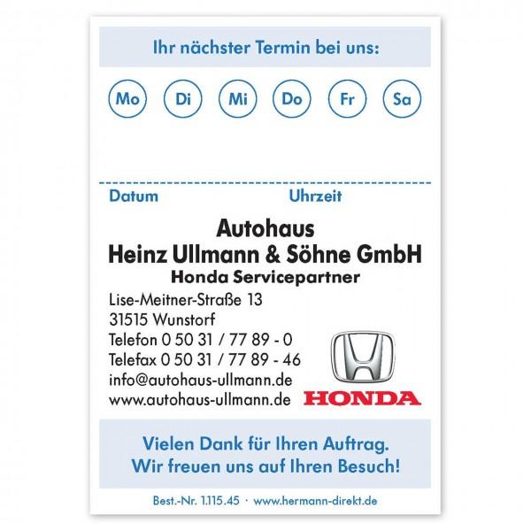 Terminzettel DIN A7, mit Firmeneindruck
