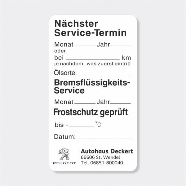 """Service-Aufkleber aus PVC-Folie, Größe: 45 x 80 mm, Motiv """"Service / Bremsflüssigkeit / Frostschutz"""""""