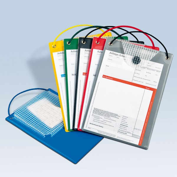Auftragstaschen DIN A5 mit Kordel und Klett-Verschluss, mit Unterlagen-Fach