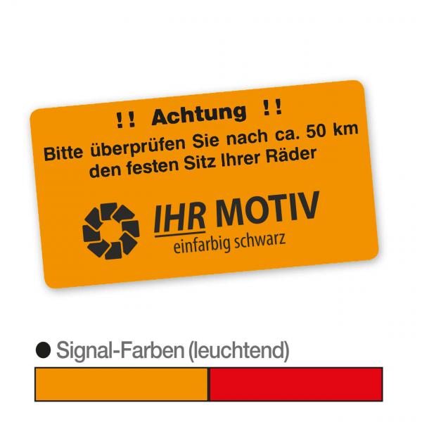 """Hinweis-Etiketten """"Radschrauben prüfen"""" aus Papier, Leuchtfarbe, mit Firmeneindruck"""
