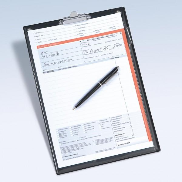 Klemmbrett-Auftragstasche DIN A4 mit Druckknopf-Verschluss und Blockklammer