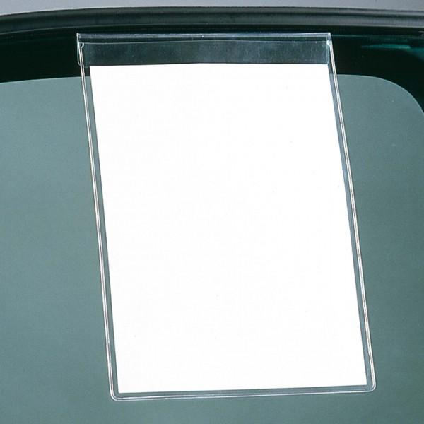 Infotasche mit Lasche zum Einhängen an die Seitenscheibe. Für DIN A4-Hochformat