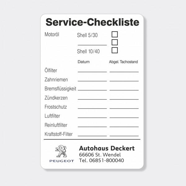 Service-Checkliste aus PVC-Folie, selbstklebend, Größe: 60 x 90 mm, Motiv 62