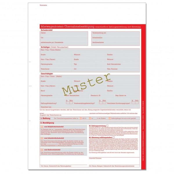Mietwagenkosten-Übernahmebestätigung. DIN A4