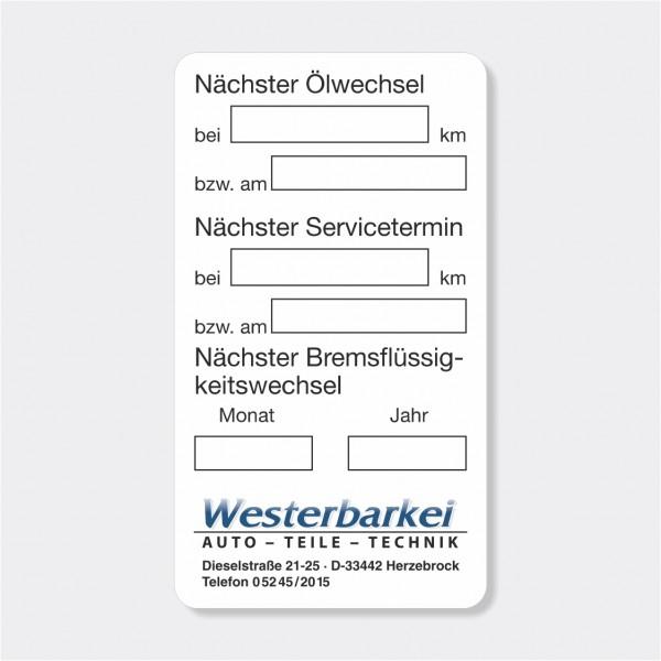 """Service-Aufkleber aus PVC-Folie, Größe: 45 x 80 mm, Motiv """"Ölwechsel / Service / Bremsflüssigkeit"""""""