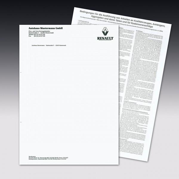 Auftragsbestätigung mit Arbeitskarte, Einzelsatz. DIN A4, mit Firmeneindruck